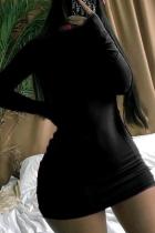 Black Sexy Solid Split Joint Half A Turtleneck A Line Dresses