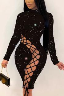 Black Casual Solid Frenulum O Neck Pencil Skirt Dresses