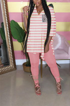 Pink Milk Silk Casual Striped Print pencil Long Sleeve Two Pieces