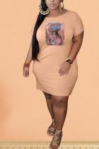 Pink Polyester Fashion Sexy adult Ma'am O Neck Print Pattern Plus Size
