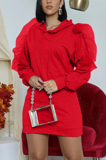 Red Fashion Casual Solid Split Joint Flounce O Neck Long Sleeve Dress
