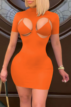 Tangerine Red Sexy Solid Hollowed Out Half A Turtleneck Short Sleeve Two Pieces