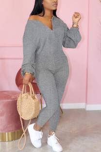 Grey Fashion Casual Solid zipper Cotton Long Sleeve O Neck Jumpsuits