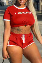 Red Casual Sportswear Letter Print Basic O Neck Short Sleeve Two Pieces