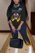 Black Fashion Sportswear Adult Polyester Blaze Skull Head Print Split Joint O Neck Long Sleeve Regular Sleeve Regular Two Pieces