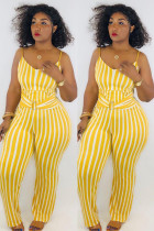 Yellow Sexy Striped Polyester Sleeveless Slip Jumpsuits