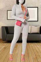 Light Gray Sexy Solid Split Joint Frenulum Buttons Fold O Neck Regular Jumpsuits