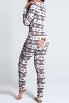 Grey Casual Print V Neck Skinny Jumpsuits