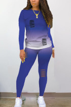 Dark Blue Polyester Sexy Print Hole Regular Long Sleeve Two Pieces