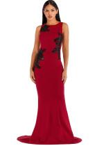 Red Polyester Celebrities Tank Sleeveless O neck Step Skirt Floor-Length Solid