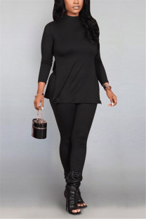 Black Fashion Casual Solid Basic Half A Turtleneck Long Sleeve Two Pieces