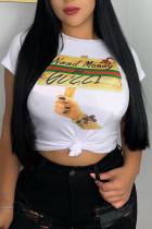 Shallow yellow Polyester O Neck Short Sleeve Print Tees & T-shirts
