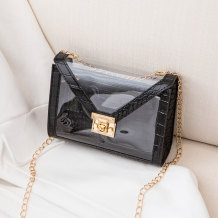 Black Fashion Casual Patchwork Chain Strap Crossbody Bag