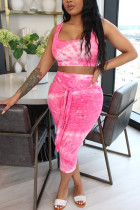 Pink Polyester Fashion Casual adult Ma'am O Neck Print Two Piece Suits Stitching Plus Size