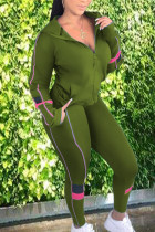 Army Green Street Polyester Solid Split Joint Hooded Collar Long Sleeve Regular Two Pieces