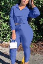 Blue Casual Twilled Satin Solid O Neck Long Sleeve Regular Sleeve Short Two Pieces
