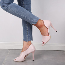 Pink Casual Split Joint Pointed Leather Shoes