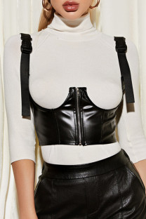 Black Fashion Casual Solid Slim-fit Irregular Zipper Sling Accessories