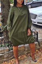 Army Green Street Solid Split Joint O Neck Dresses