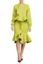Yellow Fashion Long Sleeves O neck Mermaid Knee-Length ruffle Solid Two Piece Dresses