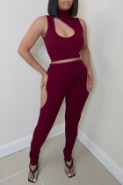 Burgundy Sexy Casual Solid Hollowed Out Turtleneck Sleeveless Two Pieces