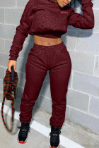 Wine Red Polyester Fashion adult Europe and America Ma'am Letter Patchwork Two Piece Suits Straight Long Sleeve Two Pieces