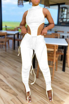 White Sexy Casual Solid Slit Asymmetrical Turtleneck Sleeveless Two Pieces
