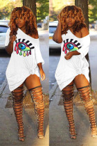 White Polyester Sexy Fashion adult Cap Sleeve Short Sleeves O neck A-Line Mini eye Patchwork Print Club D