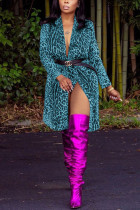 Blue cardigan Leopard Print Nylon Print Long Sleeve Outerwear