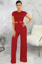 Red Polyester Fashion Sexy Bandage Patchwork Solid Loose Short Sleeve Two-piece Pants Set