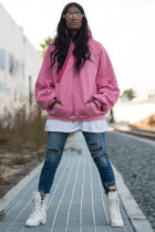 Pink hooded Patchwork Cotton Patchwork Long Sleeve Sweats & Hoodies