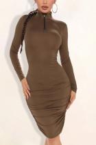 Brown Polyester Solid Split Joint Fold Turtleneck Long Sleeve Knee Length Pencil Skirt Dresses