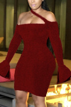 Wine Red Fashion Sexy Solid Backless Halter Dresses