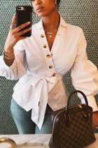 White Cotton cardigan Long Sleeve Solid tassel Bandage Button asymmetrical Blouses & Shirts