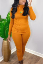 Orange Casual Solid O Neck Long Sleeve Two Pieces