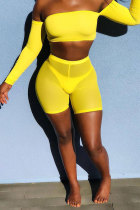 Yellow Polyester Elastic Fly Short Sleeve Mid Solid crop top shorts Two-piece suit