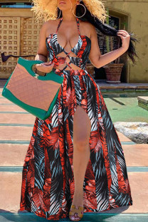 Red Fashion Print Split Joint Halter Swagger Dresses