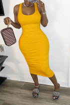 Yellow Polyester Fashion Sexy adult White Red Black Yellow Tank Sleeveless Square Step Skirt Mid-Calf Patchwork bandage Solid hollow out Dresses