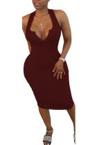 Wine Red Polyester Fashion Sexy White Blue Wine Red Off The Shoulder Sleeveless V Neck Pencil Dress Mid-Calf Solid Dresses