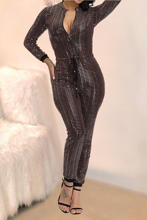 Gold Sexy Fashion zipper Sequin Chlorine Long Sleeve O Neck Jumpsuits