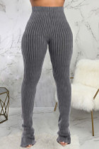 Grey Fashion Casual Adult Pit Article Fabrics Solid Slit Skinny Bottoms