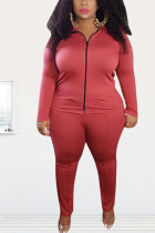 Red Fashion Street Adult Polyester Solid Split Joint O Neck Plus Size