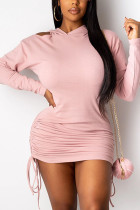 Pink Fashion Casual Adult Polyester Solid Draw String Fold Hooded Collar Long Sleeve Mini One-piece Suits Dresses
