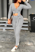 Grey Casual Polyester Knitting Patchwork Solid Split Joint Pullovers Pants Knotted V Neck Long Sleeve Regular Sleeve Short Two Pieces