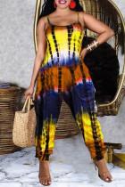 Yellow Fashion Casual Tie Dye Printing Spaghetti Strap Regular Jumpsuits