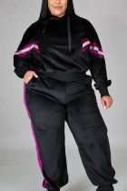 Black Casual Solid Hooded Collar Plus Size
