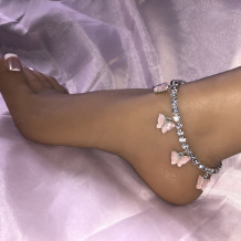 Pink Fashion Rhinestone Butterfly Anklet