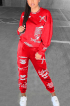 Red Fashion Street Adult Polyester Print Split Joint Letter O Neck Regular Sleeve Regular Two Pieces