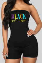 Black Fashion Sexy Print letter Polyester Sleeveless Wrapped Jumpsuits