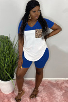 Blue Milk Silk Sexy Patchwork Two Piece Suits Straight Short Sleeve Two-Piece Short Set